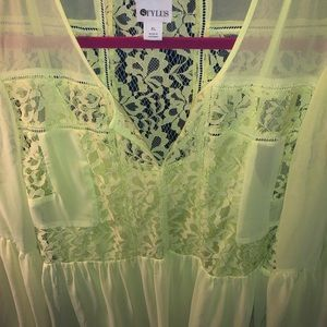 STYLUS Tops - Neon Yellow/Green Long Sleeve Lace Blouse